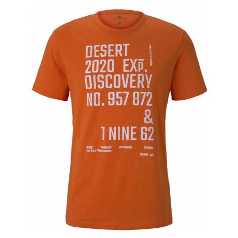 TOM TAILOR Herren Meliertes T-Shirt mit Print, orange