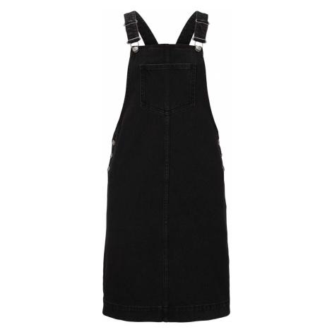 TOM TAILOR DENIM Damen mini Latzkleid aus Jeans, schwarz