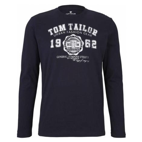 TOM TAILOR Herren Langarmshirt mit Print, blau