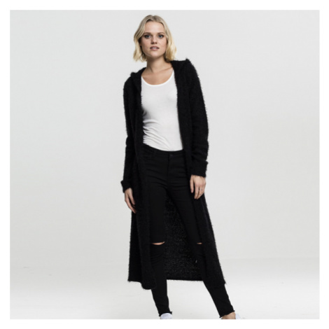 Urban Classics Ladies Hooded Feather Cardigan black