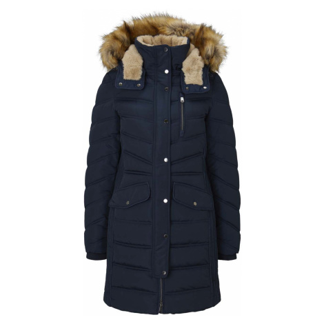 TOM TAILOR Damen Lange Pufferjacke mit Fellbesatz, blau