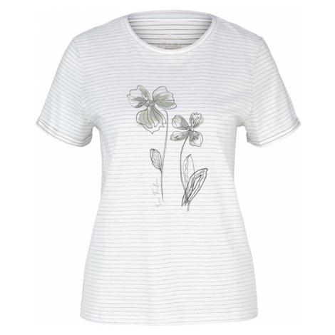TOM TAILOR Damen Gestreiftes T-Shirt mit Bio-Baumwolle, weiß