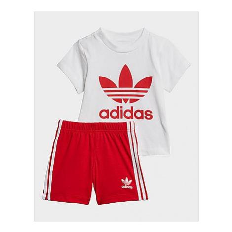 Adidas Originals Trefoil Shorts und T-Shirt Set - White / Scarlet, White / Scarlet