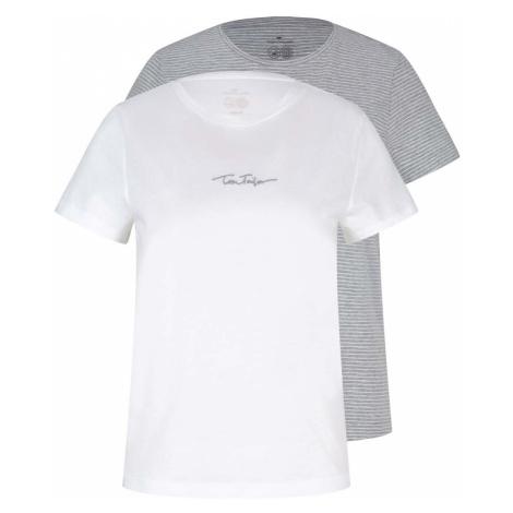 TOM TAILOR Damen Doppelpack T-Shirt mit Bio-Baumwolle, weiß