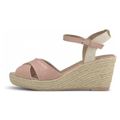 TOM TAILOR Damen Sandaletten mit Keilabsatz, rosa