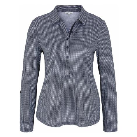 TOM TAILOR Damen Gemustertes Henley Shirt, blau