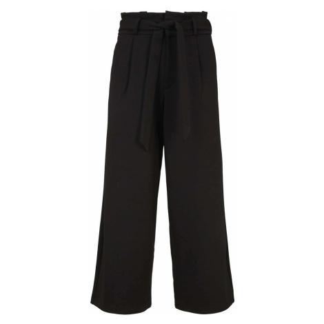 TOM TAILOR DENIM Damen Culotte Bundfaltenhose mit Bindegürtel, schwarz