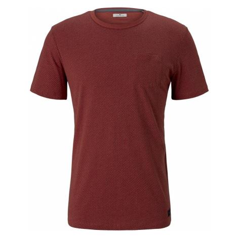 TOM TAILOR Herren Fein gemustertes T-Shirt mit Brusttasche, orange