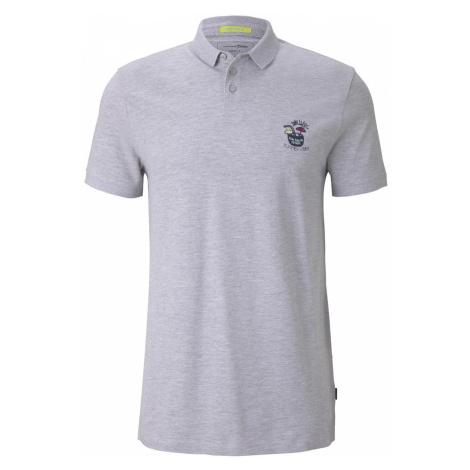 TOM TAILOR DENIM Herren Poloshirt mit Print, grau