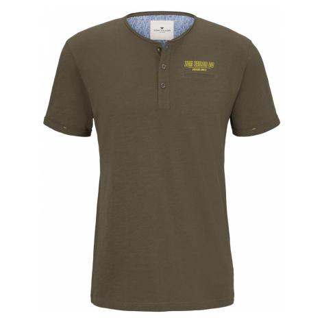 TOM TAILOR Herren Henley T-Shirt in Melange-Optik, grün
