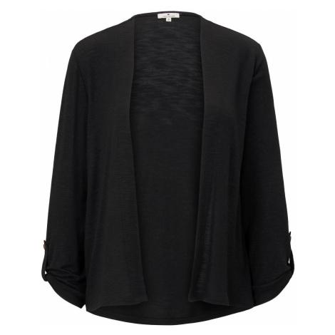 TOM TAILOR Damen Shirt-Cardigan mit gerafften Ärmeln, schwarz, unifarben