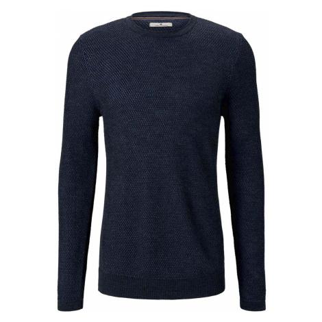 TOM TAILOR Herren Strukturierter Pullover mit Seiteneinsätzen, blau