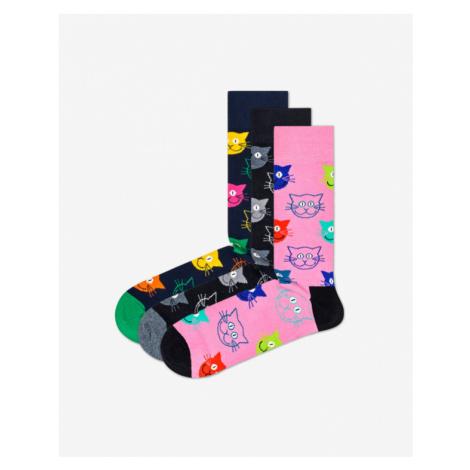 Happy Socks Cat Gift Box 3 Paar Socken Schwarz Blau Rosa