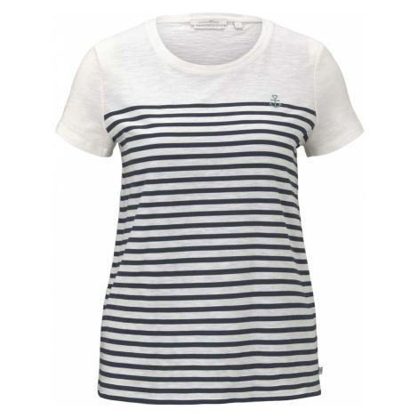 TOM TAILOR DENIM Damen Gestreiftes T-Shirt mit Bio-Baumwolle, weiß