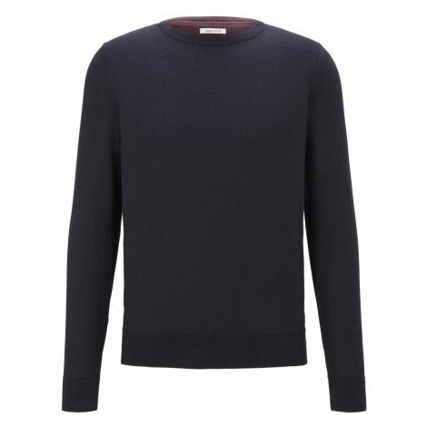 TOM TAILOR Herren Basic Pullover mit Streifenstruktur, blau