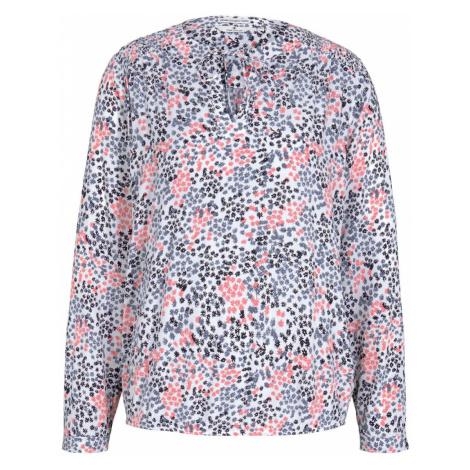 TOM TAILOR Damen Gemusterte Bluse mit LENZING(TM) ECOVERO(TM), weiß