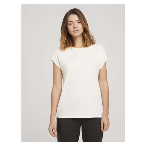 TOM TAILOR DENIM Damen Fließendes Basic T-Shirt, weiß