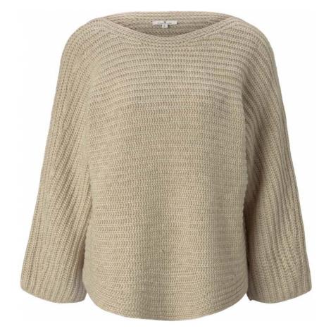 TOM TAILOR Damen Melierter Pullover mit Fledermausärmeln, beige