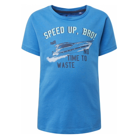 TOM TAILOR Jungen T-Shirt mit Brust-Print, blau, unifarben mit Print