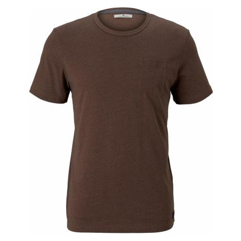 TOM TAILOR Herren Fein gemustertes T-Shirt mit Brusttasche, braun