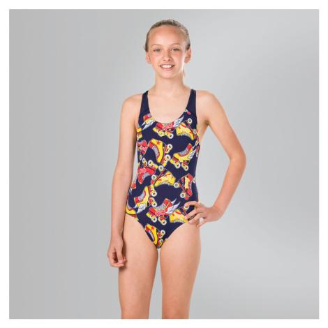 Speedo Allover Splashback Badeanzug, Blau/Orange/Gelb
