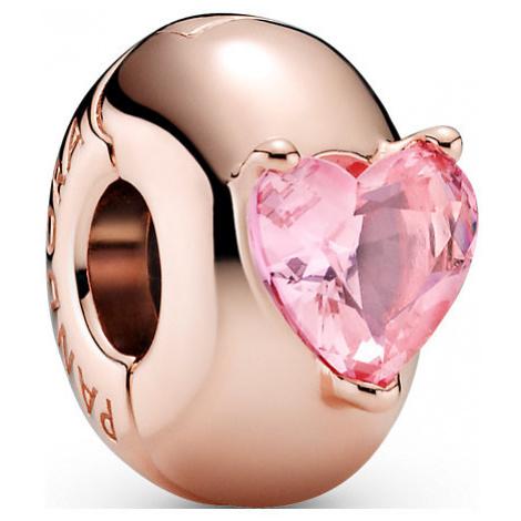 Pandora Charm Colours Rosafarbenes Herz Solitär Clip 789203C01