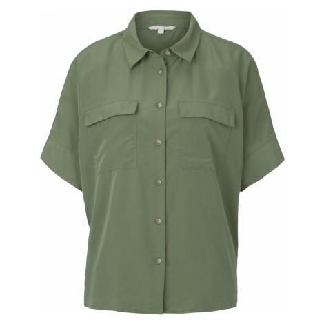 TOM TAILOR DENIM Damen Kurzes Blusenshirt mit Taschen, grün