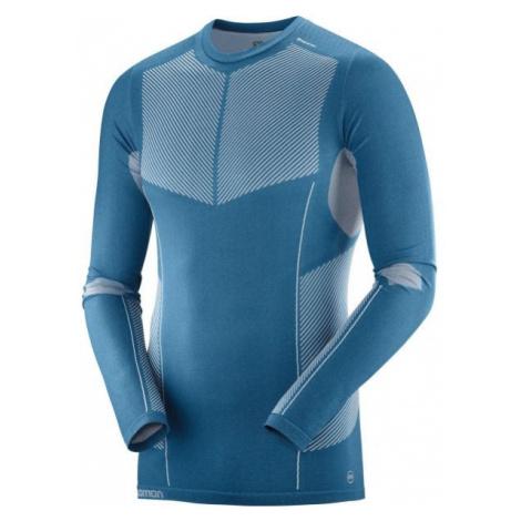 Salomon PRIMO WARM SEAMLESS TEE blau - Herren Shirt