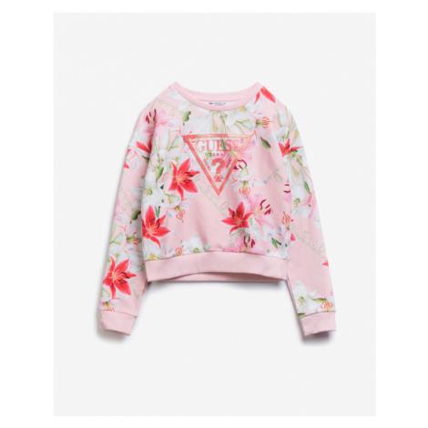 Guess Logo Allover Sweatshirt Kinder Rosa