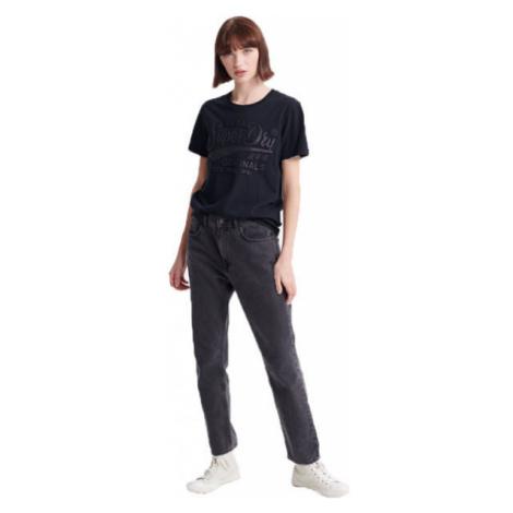 Superdry RO GLITTER EMBOSS ENTRY TEE schwarz - Damenshirt