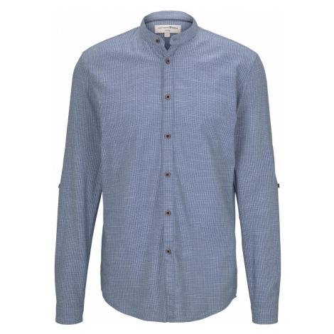 TOM TAILOR DENIM Herren Gemustertes Hemd mit Turn-Ups und Mao-Kragen, blau