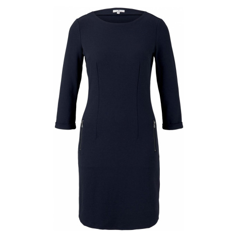 TOM TAILOR Damen Jersey Etuikleid mit Taschen, blau
