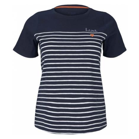 TOM TAILOR MY TRUE ME Damen Gestreiftes T-Shirt mit Bio-Baumwolle , blau