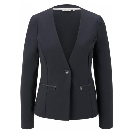 TOM TAILOR Damen Kragenloser Blazer mit Reißverschlusstaschen, blau