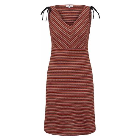 TOM TAILOR Damen Gemustertes Kleid mit Schulter-Detail, rot