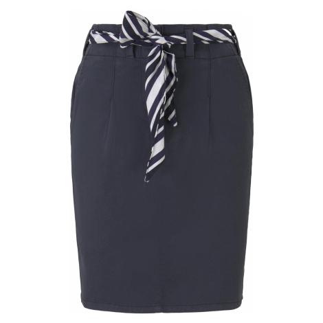 TOM TAILOR Damen Paperbag Minirock mit Stoffgürtel, blau