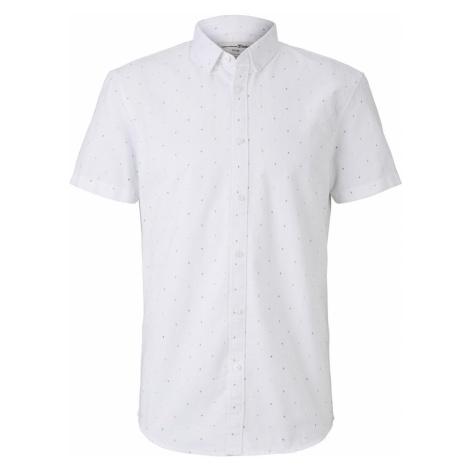TOM TAILOR DENIM Herren Gepunktetes kurzärmliges Hemd, weiß