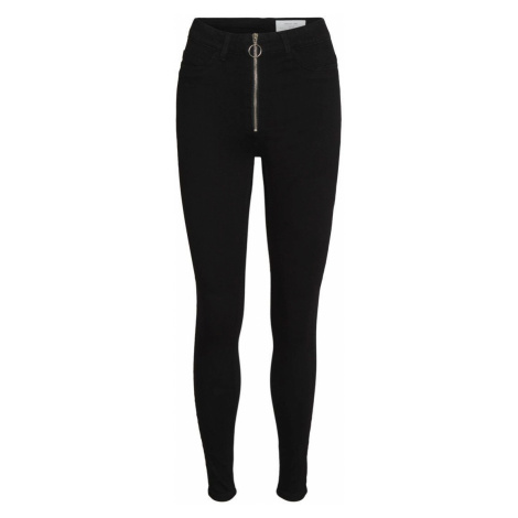 NOISY MAY Nmcallie High Waisted Zip Skinny Fit Jeans Damen Schwarz