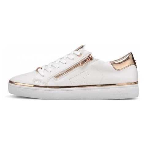 TOM TAILOR Damen Metallic Sneaker mit Reißverschluss-Details, weiß