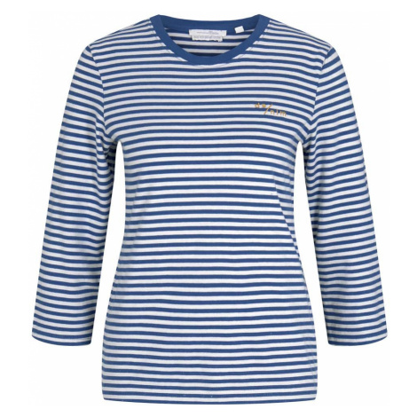 TOM TAILOR DENIM Damen Gestreiftes Langarmshirt mit Bio-Baumwolle , blau