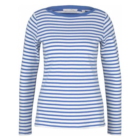 TOM TAILOR DENIM Damen Gestreiftes Langarmshirt mit Bio-Baumwolle, blau
