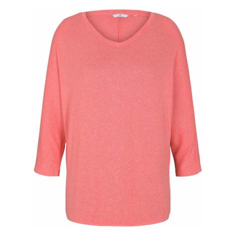 TOM TAILOR Damen Meliertes Shirt mit elastischem Bund, rot