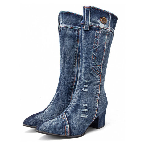 Damen Casual Side Zipper Pointed Toe Chunky Heel Mid-Wade Denim Cloth Stiefel
