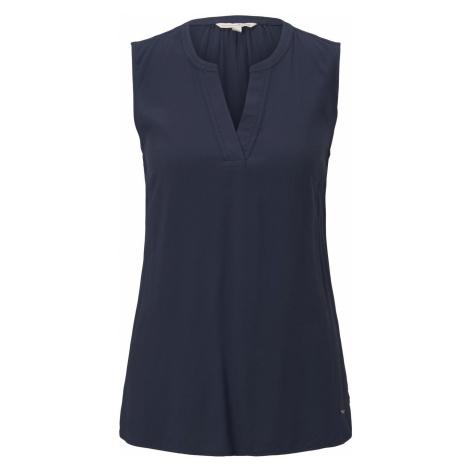 TOM TAILOR DENIM Damen Ärmellose Bluse mit Henley-Ausschnitt, blau
