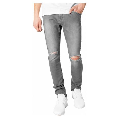 Herren Hose URBAN CLASSICS - Slim Fit Knee Cut Denim - TB1652_grey