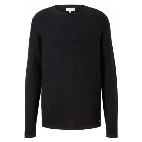 TOM TAILOR DENIM Herren Strukturierter Pullover, schwarz, unifarben