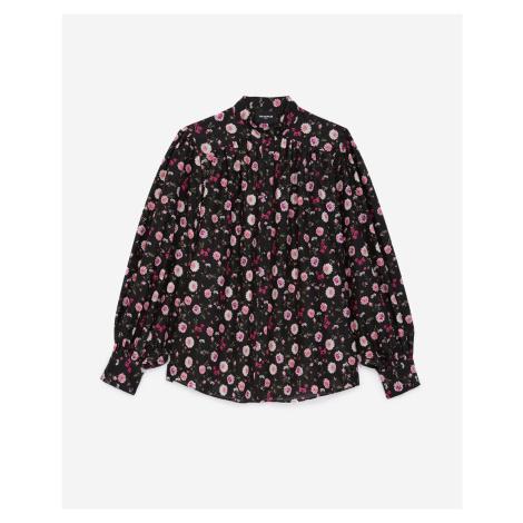The Kooples - Schwarze Bluse mit Rüschen Blumendruck - HERREN