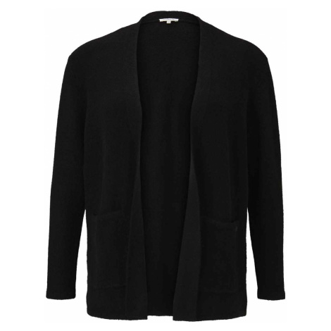 TOM TAILOR MY TRUE ME Damen Boucle Cardigan mit Taschen, schwarz