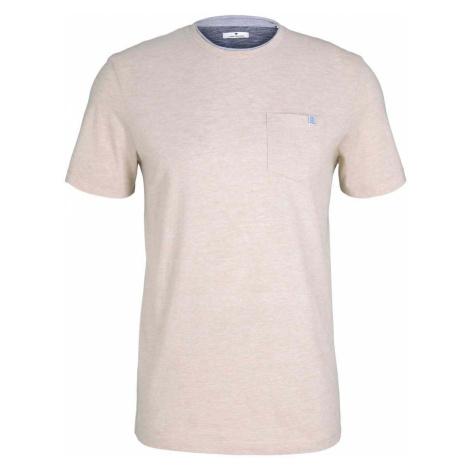 TOM TAILOR Herren Fein gestreiftes T-Shirt mit Brusttasche, beige