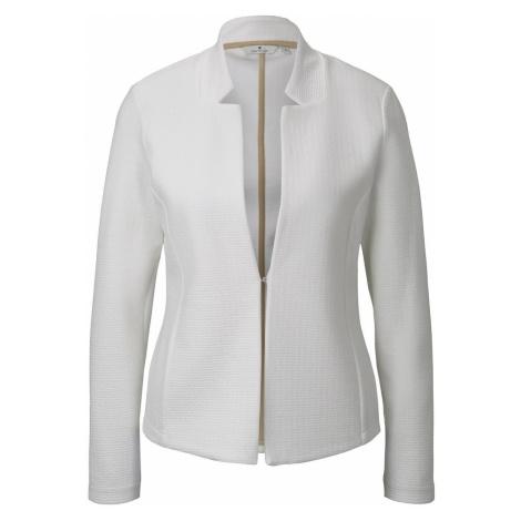 TOM TAILOR Damen Strukturierter Ottoman-Blazer, weiß, unifarben